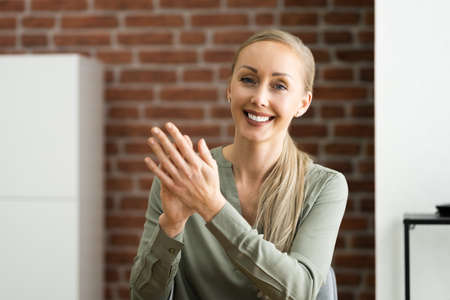 Woman Clapping In Online Video Conference Business Call