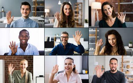 Video Conferencing Call Waving Hello With Hand Banco de Imagens
