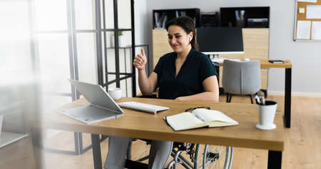 Business Video Chat Webinar On Hybrid Tablet Stock Photo