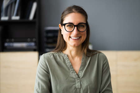Happy Professional Employee Woman Smiling Face Portrait