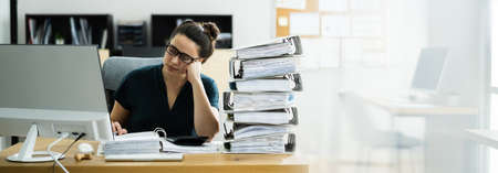Frustrated Bored Accountant Female Employee At Desk