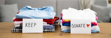 Declutter Clothes Wardrobe. Keep And Donate Fashion