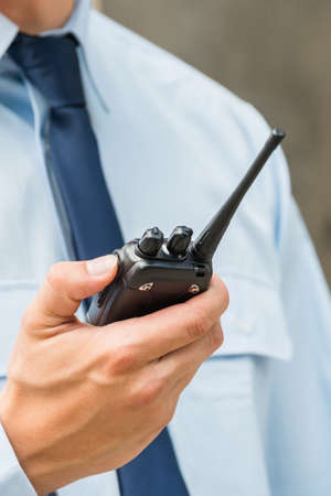 Security Guard Officer Man With Walkie Talkie