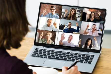 Video Conferencing Call Waving Hello With Hand