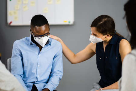 African Therapy And Support People In Face Mask