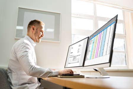 Spreadsheet Analyst Employee Worker. Medical Report On Computer