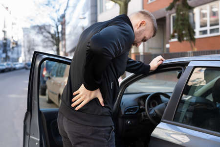 Car Driver Back Pain Injury. Bad Posture