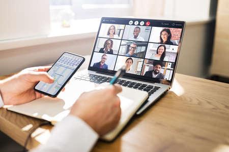 Virtual Business Presentation Or Videoconferencing On Computer Screen Standard-Bild