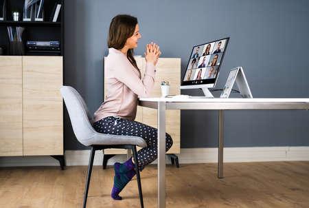 Business Video Call Dressed In Funny Pijama Standard-Bild