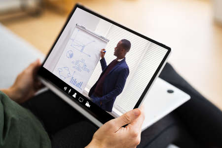 Virtual Online Training Meeting Or Tutorial Webinar Video Standard-Bild