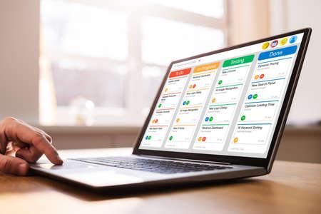 Kanban Scrum Schedule Board Plan App On Management Tablet Stock Photo