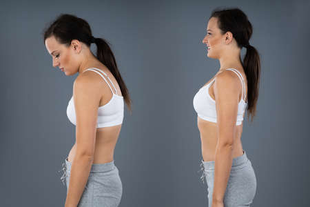 Woman With Lordosis And Normal Curvature Against Gray Background