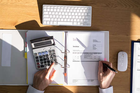 Financial Advisor With Calculator And Bill. Finance Manager