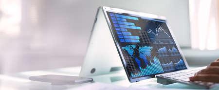 African Businesswoman Using Analytics Data KPI Dashboard Tech