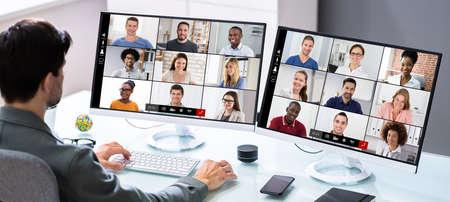Video Conference Training Online Or Virtual Presentation Webinar Banco de Imagens