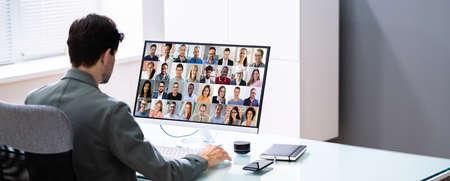 Video Conference Training Online Or Virtual Presentation Webinar
