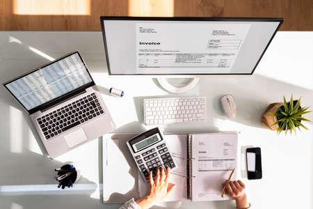 E Invoice Tax Software On Female Accountant Computer