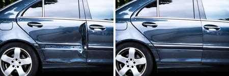 Photo Of Car Dent Repair Before And After Reklamní fotografie