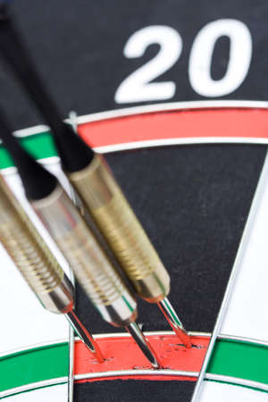 darts flying: Darts. 180 points hit. Three by triple 20 Stock Photo