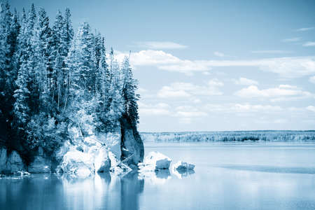wilds: Lake, sky, clouds, forest, reflections. Ural. Russia. 3 Stock Photo
