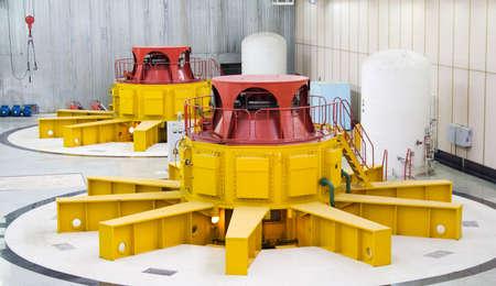 water turbine: Huge water turbine generators. Hydroelectric powerplant. Interior