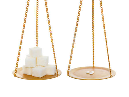 sucrose: Sugar vs small healthy sugar sweeteners. On balance. Isolated over white