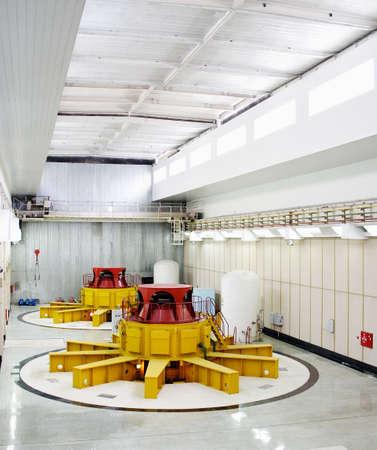 generating station: Huge water turbine generators. Hydroelectric powerplant. Interior