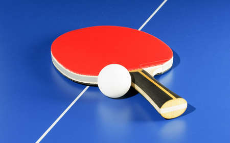 Equipment for table tennis - racket, ball, table photo