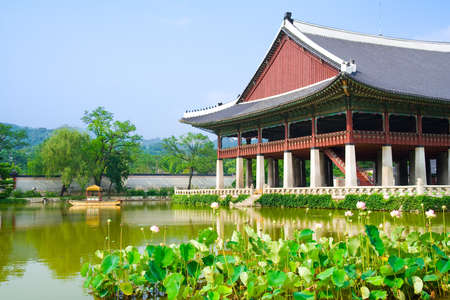 Emperor palace in Seoul  South Korea  Lake and boat