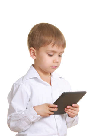e books: Reading boy with electronic book  Isolated on white Stock Photo