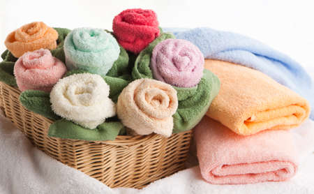 Cosy scene with towels in the form of flowers photo