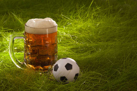 Mug of fresh lager beer and small soccer ball on the grass.Illustration for the sports bar illustration