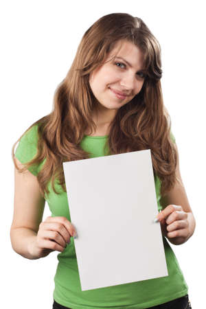 Young woman showing white blank placard, isolated on white background photo