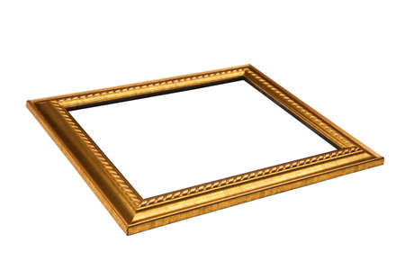 Thin golden frame with blank space   Low Angle View  Isolated on white