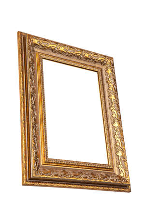 Vintage golden frame with blank space, isolated on white background  View  from side Stock Photo - 23311542