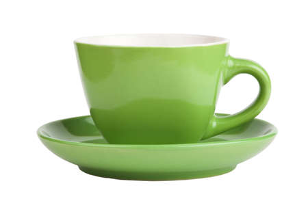 Empty green cup isolated on white, front view  photo