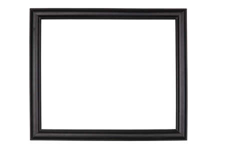 Black wooden frame, isolated on white background photo