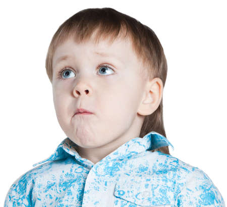 supplicate: Little boy begging Stock Photo