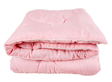 Folded pink blanket, isolated on white  Stok Fotoğraf