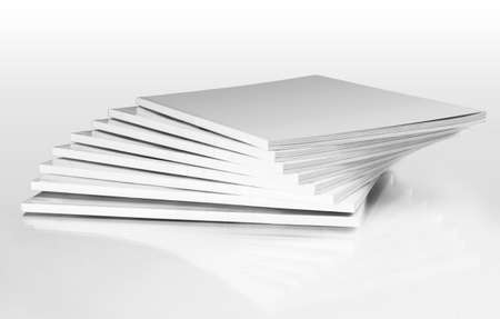 Stack of magazines with a blank cover, isolated on white Stok Fotoğraf