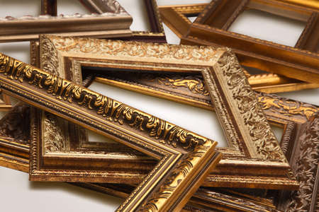 group picture: Gold antique frames, isolated on white background. Stock Photo