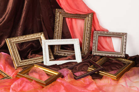 Collection of vintage frame,on textile  photo