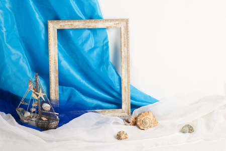vintage frame on white and blue background photo