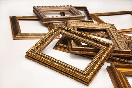 Stack of vintage frame isolated on white background photo