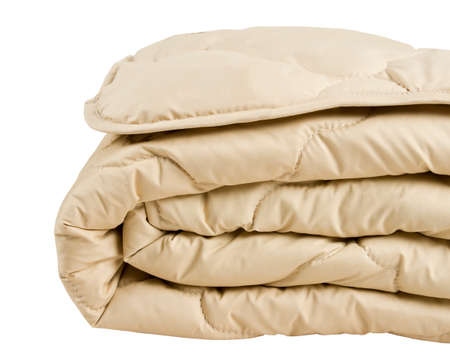 part of beige blanket isolated on white  Stok Fotoğraf