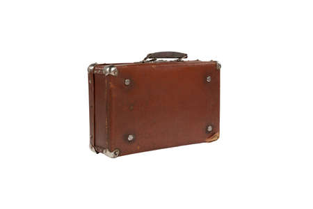 old antique suitcase with scuffed isolated on white background Stock Photo