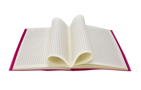 open empty checkered notebook isolated on white background Stock Photo