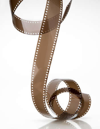 cinematographer: twisted film isolated on white background Stock Photo