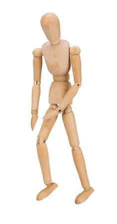 marioneta de madera: Marioneta de madera aislada sobre fondo blanco