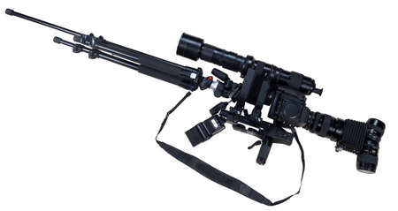 publicist: creative rifle from cameras isolated on white background